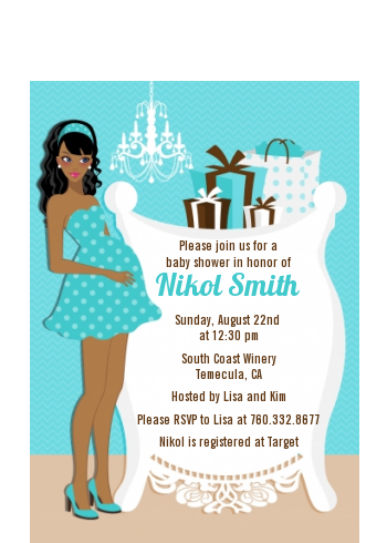 Modern Mommy Crib It's A Boy - Baby Shower Petite Invitations African American