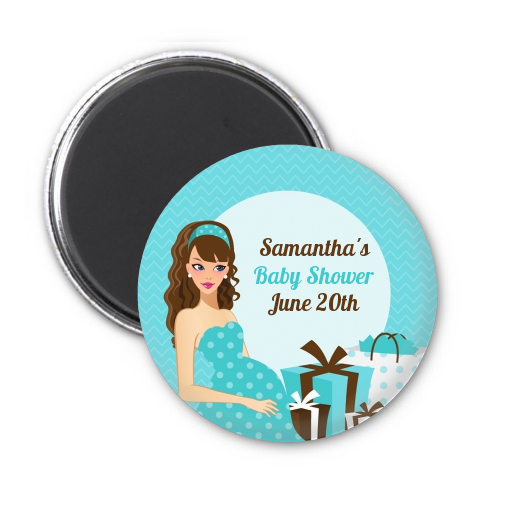 Modern Mommy Crib It's A Boy - Personalized Baby Shower Magnet Favors Black Hair A