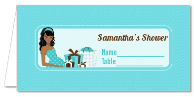 Modern Mommy Crib It's A Boy - Personalized Baby Shower Place Cards Black Hair A