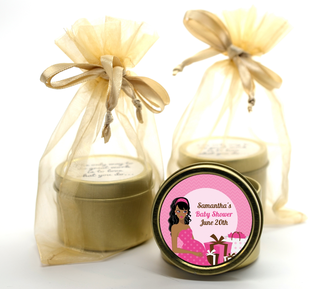 Modern Mommy Crib It's A Girl - Baby Shower Gold Tin Candle Favors Black Hair A