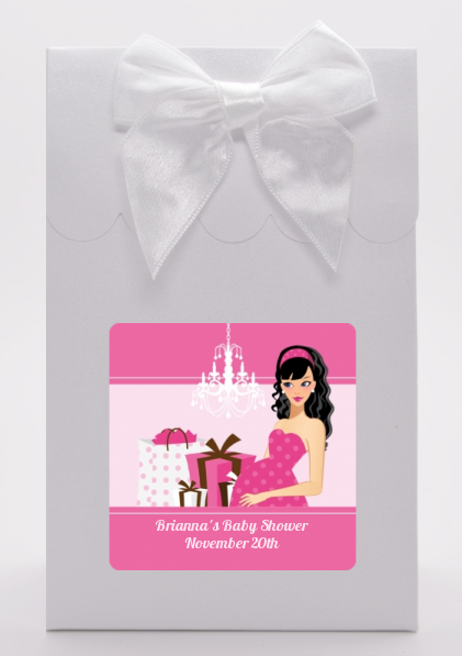 Modern Mommy Crib It's A Girl - Baby Shower Goodie Bags Black Hair A