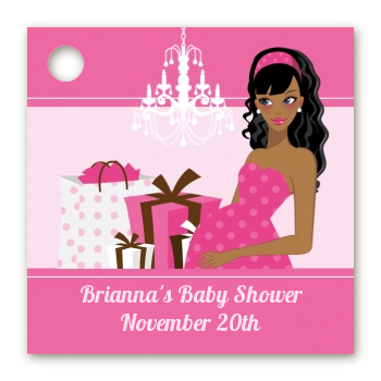 Modern Mommy Crib It's A Girl - Personalized Baby Shower Card Stock Favor Tags Black Hair A