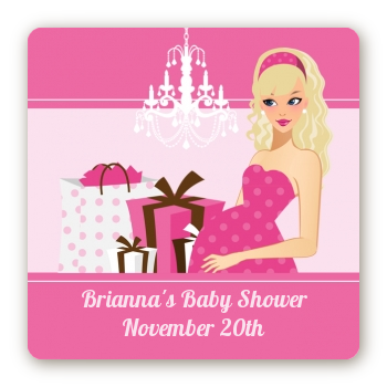 Modern Mommy Crib It's A Girl - Square Personalized Baby Shower Sticker Labels Black Hair A