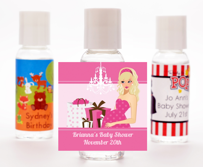 Modern Mommy Crib It's A Girl - Personalized Baby Shower Hand Sanitizers Favors Black Hair A