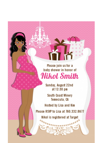 Modern mommy crib its a girl baby shower petite invitations modern mommy crib its a girl baby shower petite invitations african american filmwisefo Choice Image