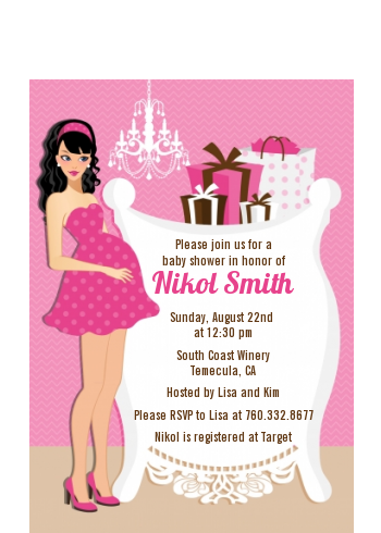 Modern Mommy Crib It's A Girl - Baby Shower Petite Invitations African American