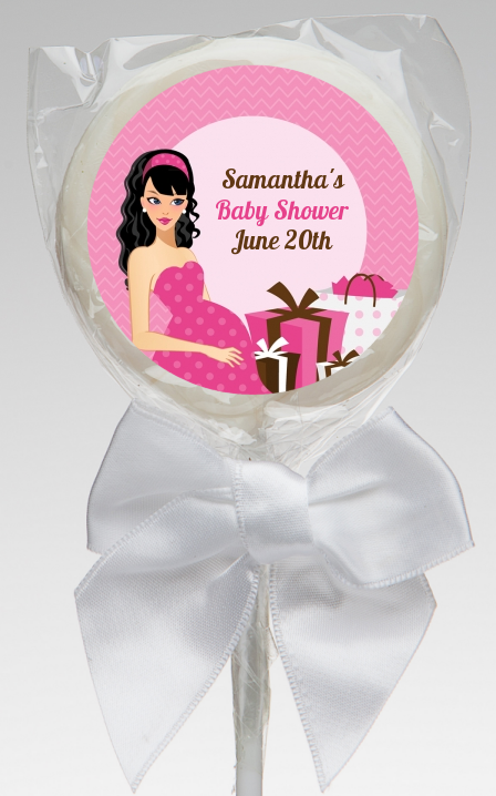 Modern Mommy Crib It's A Girl - Personalized Baby Shower Lollipop Favors Black Hair A