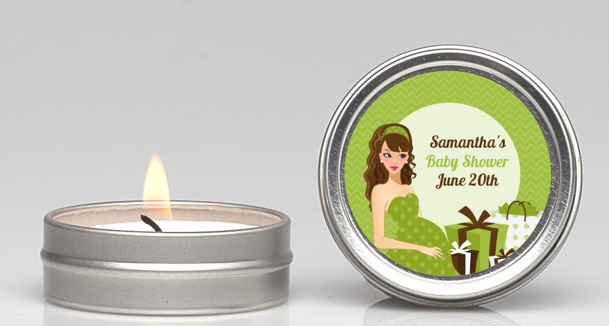 Modern Mommy Crib Neutral - Baby Shower Candle Favors Black Hair A