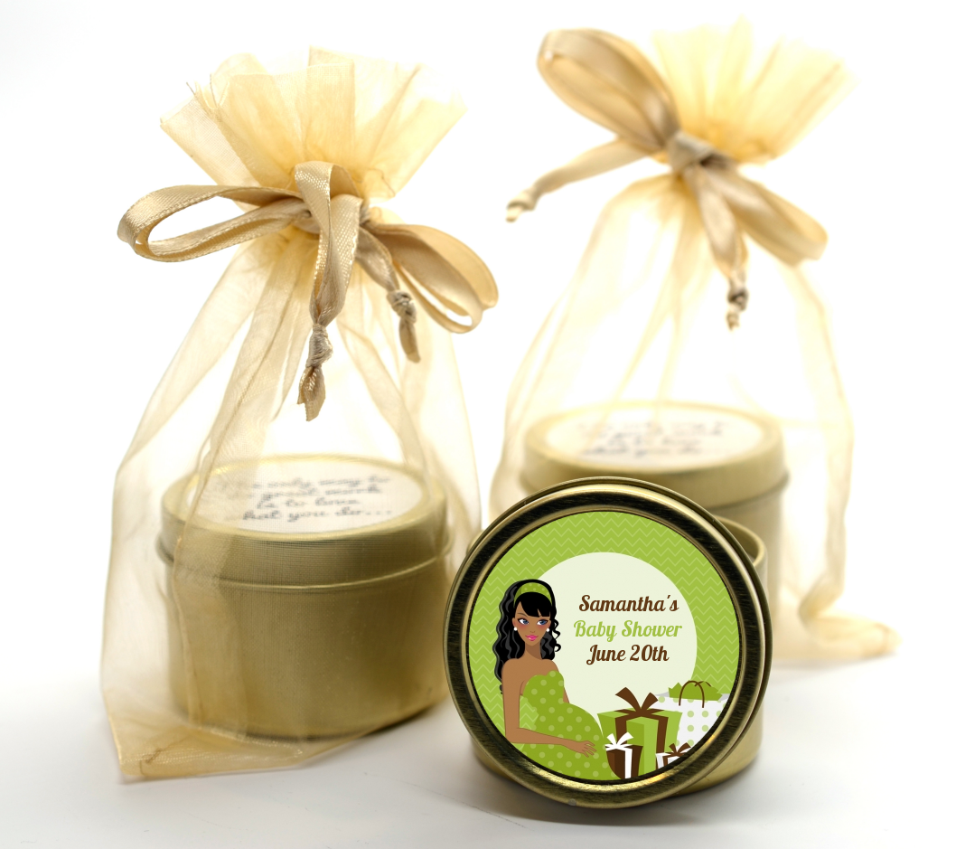 Modern Mommy Crib Neutral - Baby Shower Gold Tin Candle Favors Black Hair A