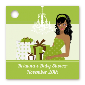 Modern Mommy Crib Neutral - Personalized Baby Shower Card Stock Favor Tags Black Hair A