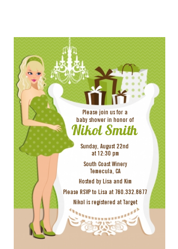 Modern Mommy Crib Neutral - Baby Shower Petite Invitations African American