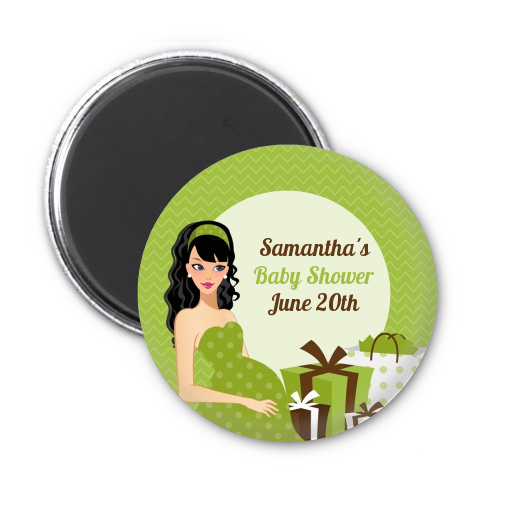Modern Mommy Crib Neutral - Personalized Baby Shower Magnet Favors Black Hair A