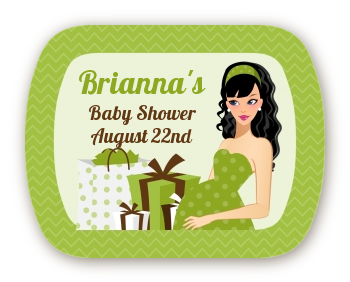 Modern Mommy Crib Neutral - Personalized Baby Shower Rounded Corner Stickers Black Hair A