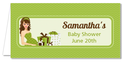Modern Mommy Crib Neutral - Personalized Baby Shower Place Cards Black Hair A