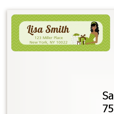 Modern Mommy Crib Neutral - Baby Shower Return Address Labels Black Hair A
