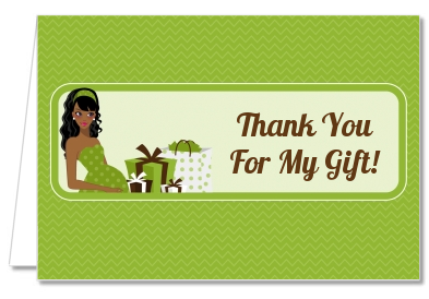 Modern Mommy Crib Neutral - Baby Shower Thank You Cards Black Hair