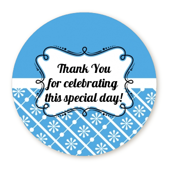 Modern Thatch Blue - Personalized Everyday Party Round Sticker Labels