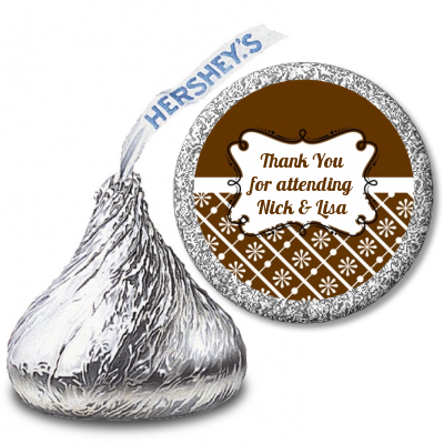 Modern Thatch Brown - Hershey Kiss  Sticker Labels