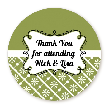 Modern Thatch Green - Personalized Everyday Party Round Sticker Labels