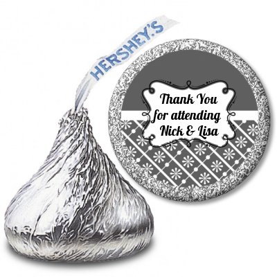 Modern Thatch Grey - Hershey Kiss  Sticker Labels