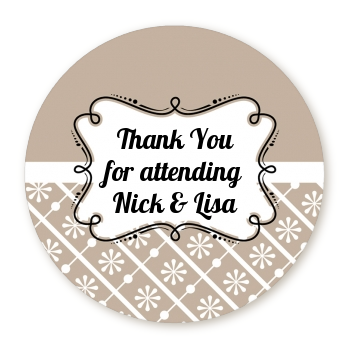 Modern Thatch Latte - Personalized Everyday Party Round Sticker Labels