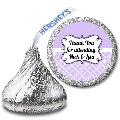 Modern Thatch Lilac - Hershey Kiss  Sticker Labels