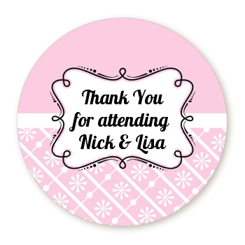 Modern Thatch Pink - Personalized Everyday Party Round Sticker Labels