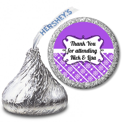 Modern Thatch Purple - Hershey Kiss  Sticker Labels