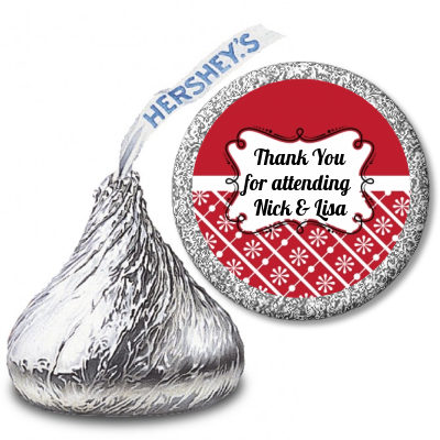 Modern Thatch Red - Hershey Kiss  Sticker Labels