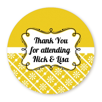 Modern Thatch Yellow - Personalized Everyday Party Round Sticker Labels