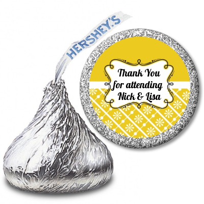 Modern Thatch Yellow - Hershey Kiss  Sticker Labels