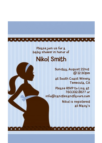 Mommy Silhouette It's a Baby - Baby Shower Petite Invitations Blue