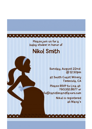 Mommy Silhouette It's a Boy - Baby Shower Petite Invitations