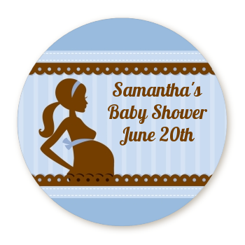 Mommy Silhouette It's a Boy - Round Personalized Baby Shower Sticker Labels