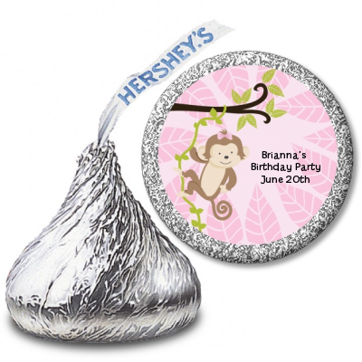 Monkey Girl - Hershey Kiss Baby Shower Sticker Labels