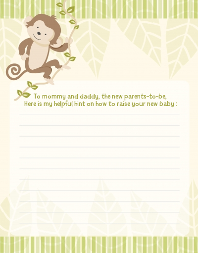Monkey Neutral - Baby Shower Notes of Advice