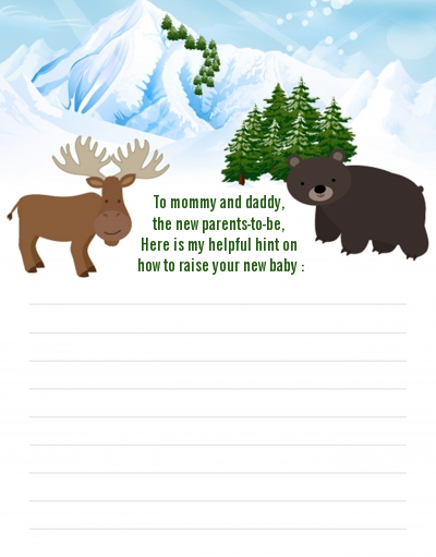 Moose and Bear - Baby Shower Notes of Advice