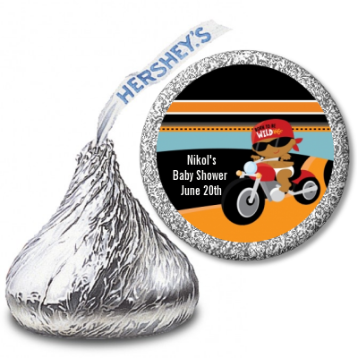 Motorcycle African American Baby Boy - Hershey Kiss Baby Shower Sticker Labels