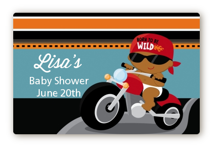Motorcycle African American Baby Boy - Baby Shower Landscape Sticker/Labels