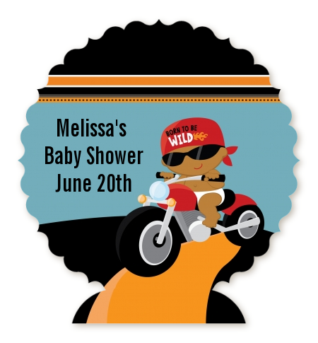Motorcycle Baby - Personalized Baby Shower Centerpiece Stand Caucasian