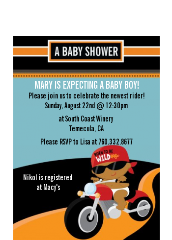 Motorcycle Baby - Baby Shower Petite Invitations Caucasian