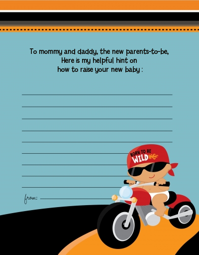 Motorcycle Baby - Baby Shower Notes of Advice Caucasian