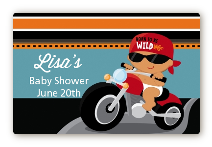 Motorcycle Hispanic Baby Boy - Baby Shower Landscape Sticker/Labels