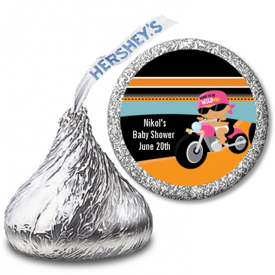 Motorcycle Hispanic Baby Girl - Hershey Kiss Baby Shower Sticker Labels