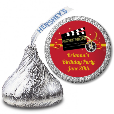 Movie Night - Hershey Kiss Birthday Party Sticker Labels