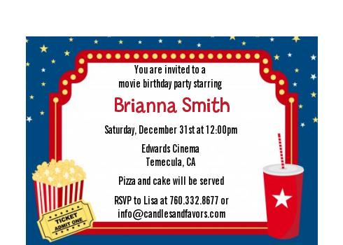 Movie Theater Birthday Party Petite Invitations