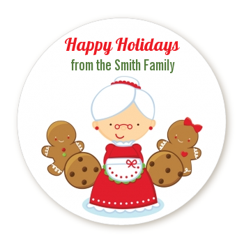 Mrs. Santa - Round Personalized Christmas Sticker Labels