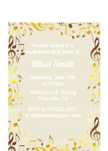 Musical Notes Black and White - Birthday Party Petite Invitations Black Red