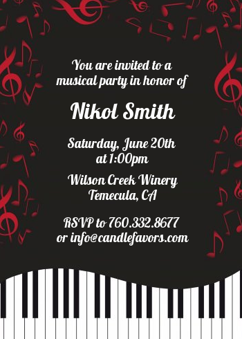musical notes black and white birthday party invitations candles