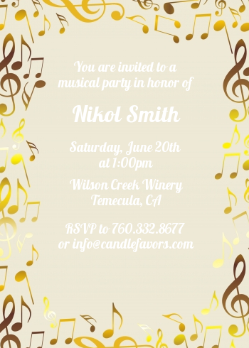 Musical notes black and white birthday party invitations candles musical notes black and white birthday party invitations black red filmwisefo